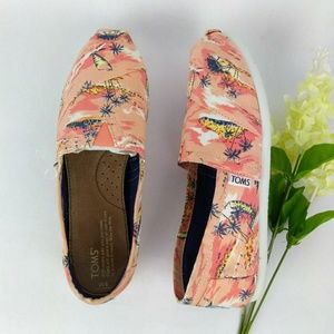 Toms Classic Flats Coral Palm Island Canvas Size 8
